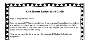 Live Theatre Extra Credit Project