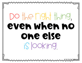 Live the Quote- Quote of the Week Character Building or Classroom Decor Posters