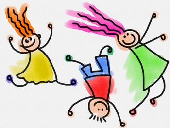 Lively Kids Watercolour Doodle Clip Art