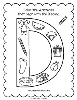 Lively Literacy Letter/Sound of the Week Phonics Worksheets - D