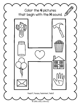 Lively Literacy Letter/Sound of the Week Phonics Worksheets - H