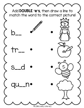 Lively Literacy Letter/Sound of the Week Phonics Worksheets - Long E