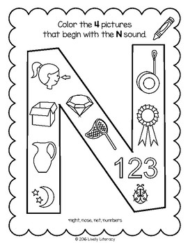 Lively Literacy Letter/Sound of the Week Phonics Worksheets - N