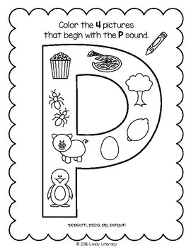 Lively Literacy Letter/Sound of the Week Phonics Worksheets - P
