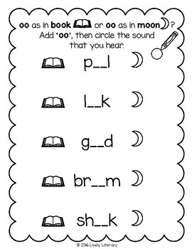 Lively Literacy Letter/Sound of the Week Phonics Worksheets - Short oo