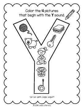 Lively Literacy Letter/Sound of the Week Phonics Worksheets - Y
