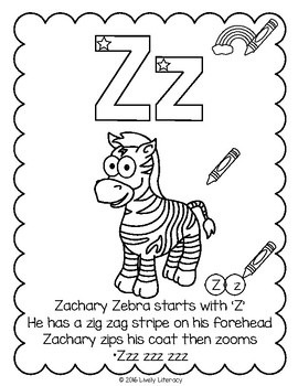 Lively Literacy Letter/Sound of the Week Phonics Worksheets - Z (zed)