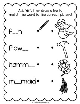 Lively Literacy Letter/Sound of the Week Phonics Worksheets - er