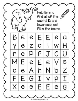 Lively Literacy Letter / Sound of the Week Phonics Worksheets - Short E
