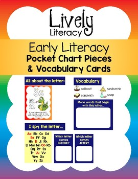 Lively Literacy Pocket Chart Pieces & Vocabulary Cards