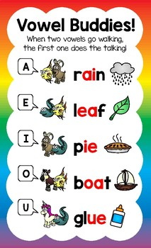 Lively Literacy Vowel Buddies Poster