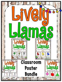 Lively Llamas | Shiplap |Classroom Décor Poster Bundle