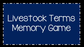 Basic Livestock Terms Memory Game