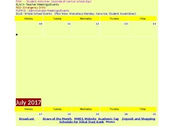 Living Calendar Template 2017-2018