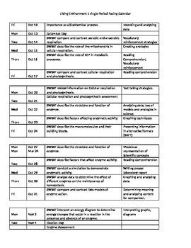 Living Environment 1 Pacing Calendar based on NYC calendar