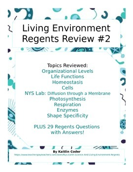 Living Environment Regents Review Packet 2 of 5