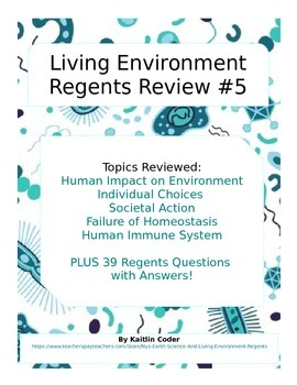Living Environment Regents Review Packet 5 of 5