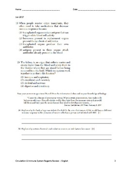 Living Environment Regents Review/ Quiz - Immune System