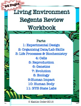 Living Environment Regents Review WORKBOOK (EDITABLE with