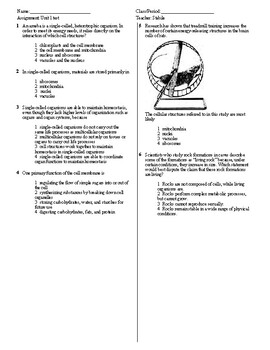 Living Environment Unit 1 Test