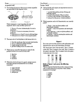 Living Environment Unit 2 Exam