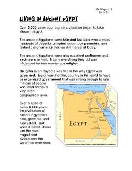 Living History: Ancient Egypt Video Questions Worksheet