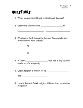 Living History: Ancient Greece Video Student Handout & Worksheet