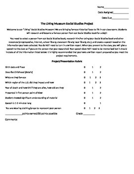 Living Museum Social Studies Project