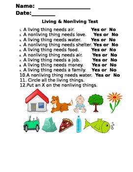 Living & Nonliving Assessment