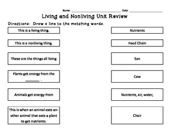 Living/Nonliving Matching