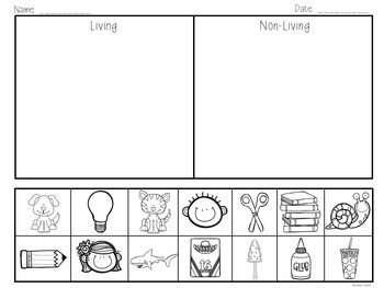 Living nonliving sort and activities by amanda castro tpt for Living and nonliving things coloring pages
