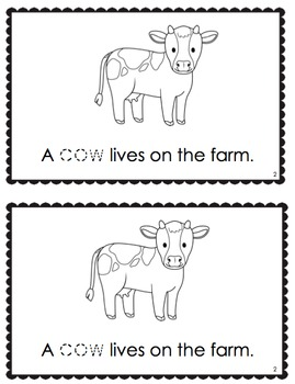 """Living On The Farm"" Emergent Reader + Vocabulary Cards (Farm Animals)"