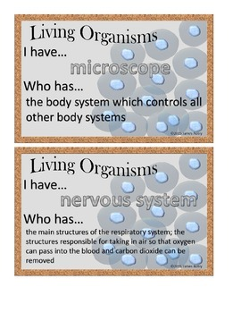 Living Organisms - Body Systems - I Have Who Has 5.L.1 5.L.1.1 5.L.1.2