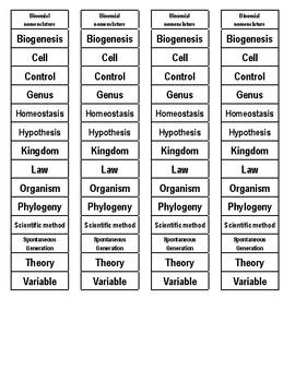 Living Organisms Cut-n-Paste Vocabulary