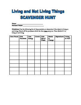 Living Organisms Scavenger Hunt