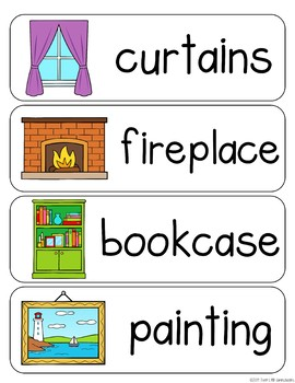 Living Room Vocabulary Word Wall Cards plus Write & Wipe Version