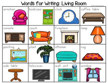 Living Room Word List - Writing Center