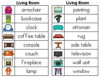 Living Room Word List - Writing Center by The Kinder Kids ...