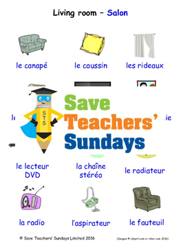 Living Room in French Worksheets, Games, Activities and Flash Cards (with audio)
