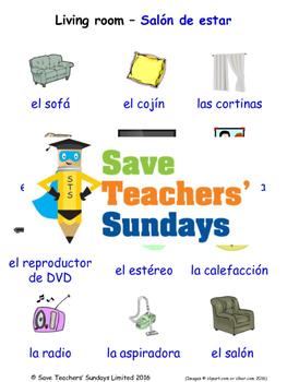 Living Room in Spanish Worksheets, Games, Activities & Flash Cards (with audio)