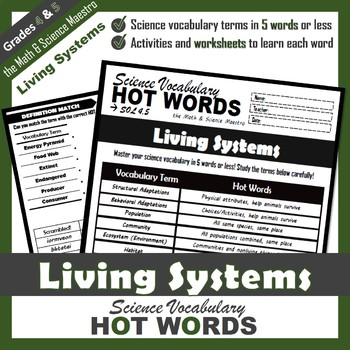 4th Grade Science Living Systems Ecosystems Vocabulary Activities