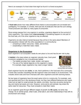 Living Systems (Ecosystems) Study Guide and Review Worksheet (SOL 4.5)