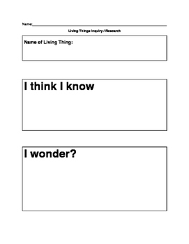 Living Things Animal Inquiry :Rough Draft Template , Final Draft Poster , Rubric