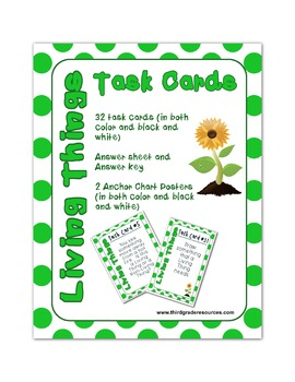 Living Things Bundle (Task Cards, Interactive Notebook, Video, PowerPoint Game)