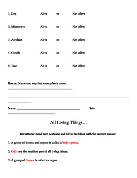 Living Things - Elementary Science Test or Quiz