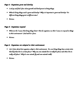 Living Things Flip Book Project (Classification)