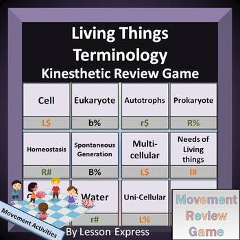 Living Things Terminology -- Kinesthetic Review Game