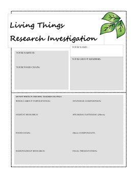 Living Things Research Investigation