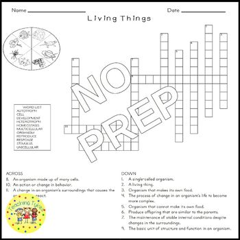Living Things Crossword Puzzle