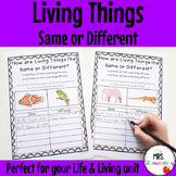 Living Things Worksheets: Similarities and Differences